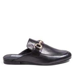 Steve Madden Kandi Black Leather Loafer Mules